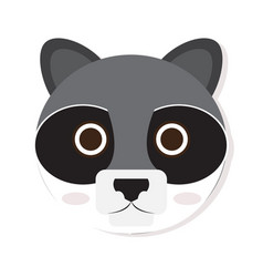 Isolated racoon face vector