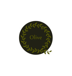 isolated round green olive branch logo vector image
