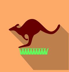 Kangaroo is running on grass in flat style vector