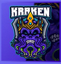 Kraken devil king mascot esport logo design vector