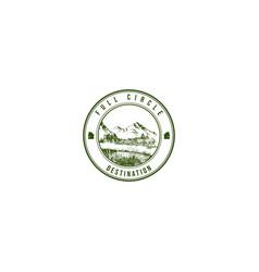 lake hand drawing travel company logo vintage vector image