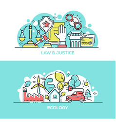 Law and justice and ecology protection banner vector