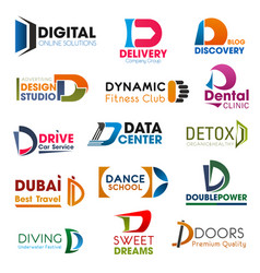 Letter d symbols identity elements vector