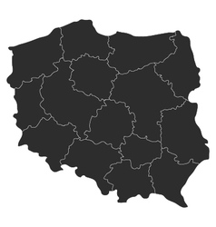 Map of Poland with regions vector