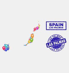 Map pointers collage las palmas province map vector