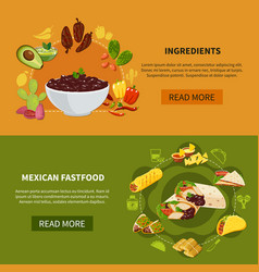mexican fastfood horizontal banners vector image