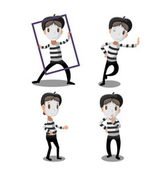 Mime artist funny cartoon character vector