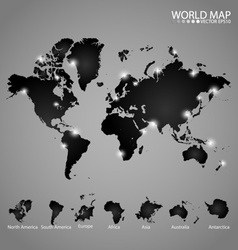 Modern world map with continents atlas North vector