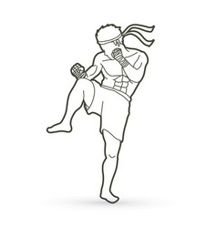 Muay thai thai boxing action vector