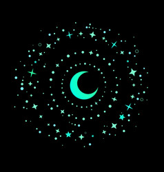Mystical round composition bright crescent and vector
