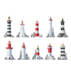 Nautical lighthouse buildings isolated icons vector