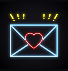 neon love letter envelope sign bright light heart vector image