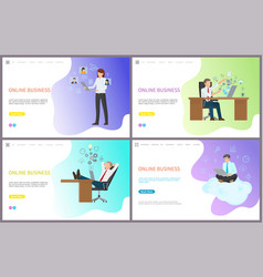 online business woman and man with laptops set vector image