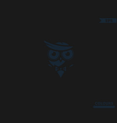 Owl in suit hidden logo vector
