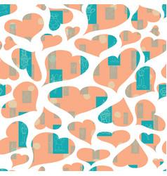 Pastel orange hearts anthropomorphic vector