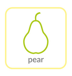 pear icon green outline flat sign isolated white vector image