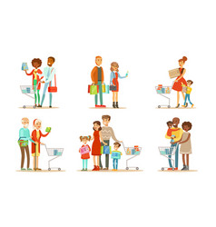people carrying shopping bags and pushing carts vector image