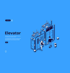 People in elevator lift isometric landing page vector