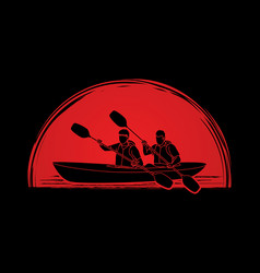 People kayaking kayaker sport team kayak boat g vector