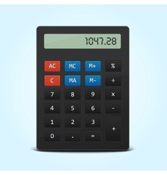 Pocket calculator isolated on blue vector