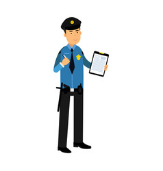 police officer character in a blue uniform holding vector image
