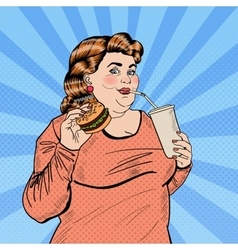 Pop Art Fat Woman Eating Fast Food and Drinking vector image