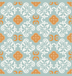 Portuguese style blue ceramic tile seamless vector