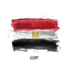 realistic watercolor painting flag of egypt vector image