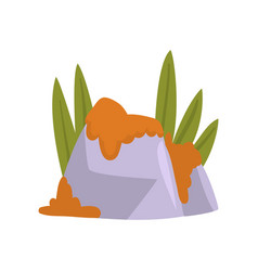 Rock stones with orange moss and green grass vector