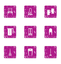 room cleaning icons set grunge style vector image