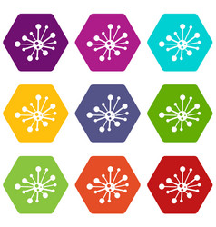 round bacteria icon set color hexahedron vector image