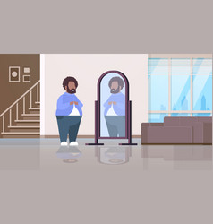 Sad overweight man looking at himself reflection vector