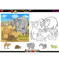 safari animals coloring page set vector image