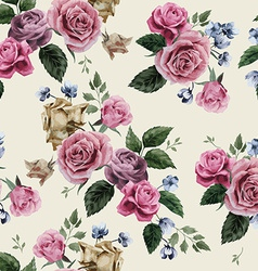 Seamless floral pattern with pink roses on light vector