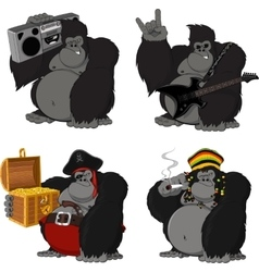 set 4 funny gorilla vector image