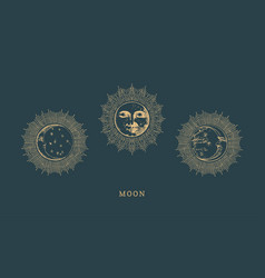 Set moon drawings with halo in engraving style vector