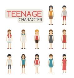 Set of cartoon teenagers characters eps10 vector image