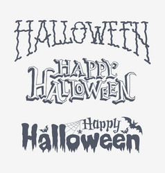 set of four happy halloween typographic banners vector image