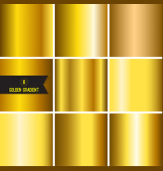 set of gold foil texture vector image