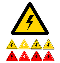 set of sign of danger high voltage electricity vector image