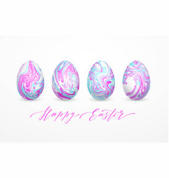 set pastel colors marbled easter eggs vector image