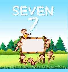 seven monkey at the wooden board vector image
