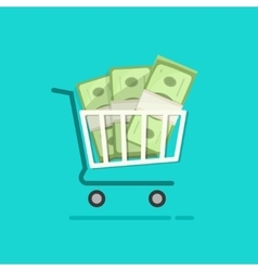 Shopping cart full pile of paper money vector image