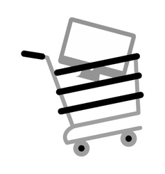 Shopping cart online computer digital gray color vector