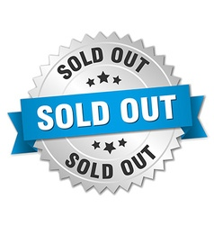 sold out 3d silver badge with blue ribbon vector image