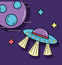 Stars ufos and planet in the galaxy space vector