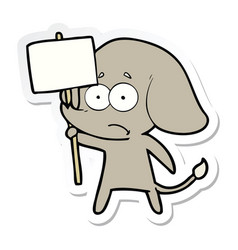Sticker of a cartoon unsure elephant with protest vector