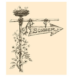 Summer holidays announcement wooden arrow vector