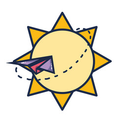 sun with paper plane vector image