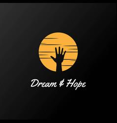 sunset sunrise hand dream hope logo design vector image